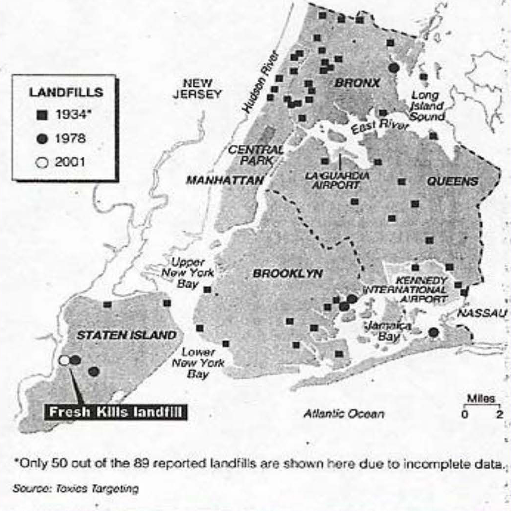 Map of NYC landfills, 1938-2001.
